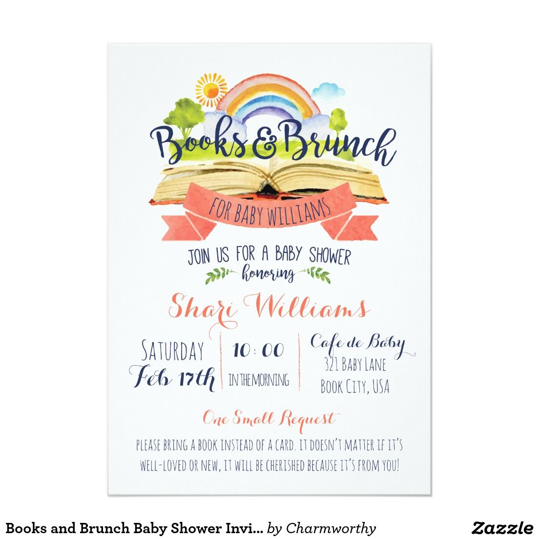 Books and Brunch Baby Shower Invitation | Shower invitations