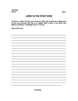 The Giver Letter To The Chief Elder Writing Assignment  Writing