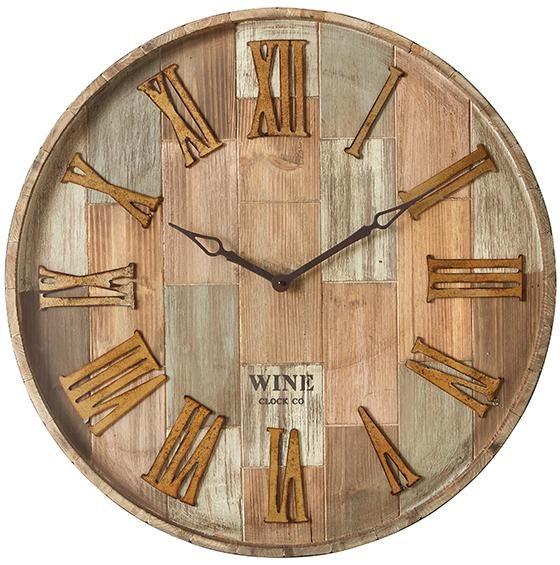 28 In X 28 In Round Wine Barrel Wall Clock 83457 Wall Clock Wine Barrel Wall Clock