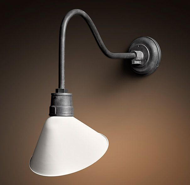 Vintage Barn Angled Shade Sconce Warm White Would look good over a bookcase. & Vintage Barn Angled Shade Sconce Warm White Would look good over a ...