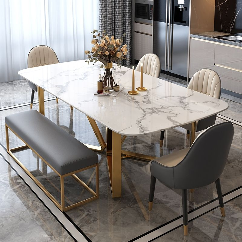 Modern Rectangle 63 Faux Marble Dining Table Gold Base Stainless Steel Dining Room Table Marble Dining Table Gold Dining Table Marble