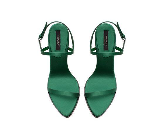 628584f457a7 Emerald green SATIN HIGH HEEL SANDAL from Zara