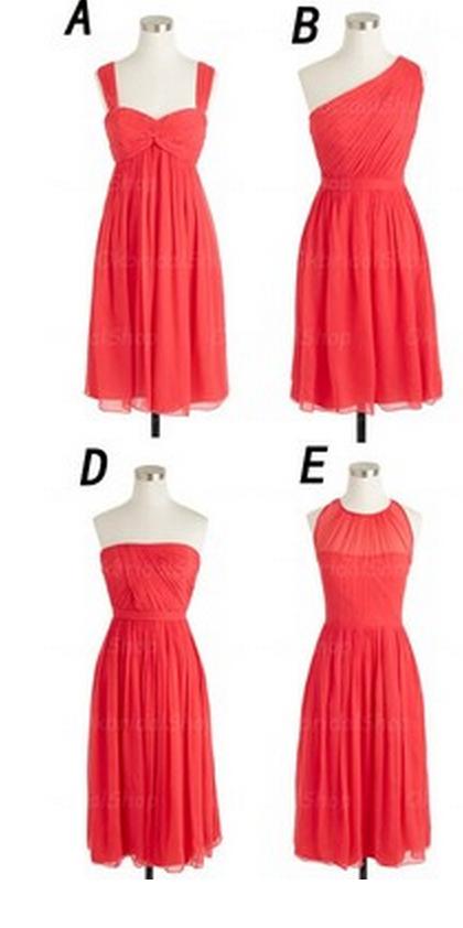 Coral Colored Short Bridesmaid Dresses, Mismatched Bridesmaid ...