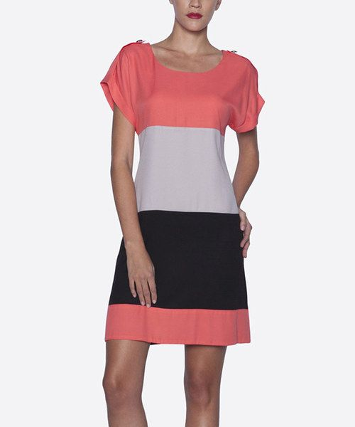 Take a look at the Salmon & Stone Color Block Scoop Neck Dress on #zulily today!