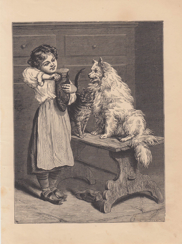 Antique Christmas Art~Young Girl~Mistletoe~Italian Greyhound Dog~ NEW Note Cards