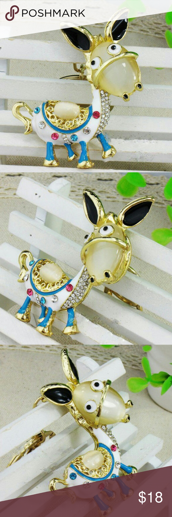 Dominic the Donkey Rhinestone Keychain Boutique (With