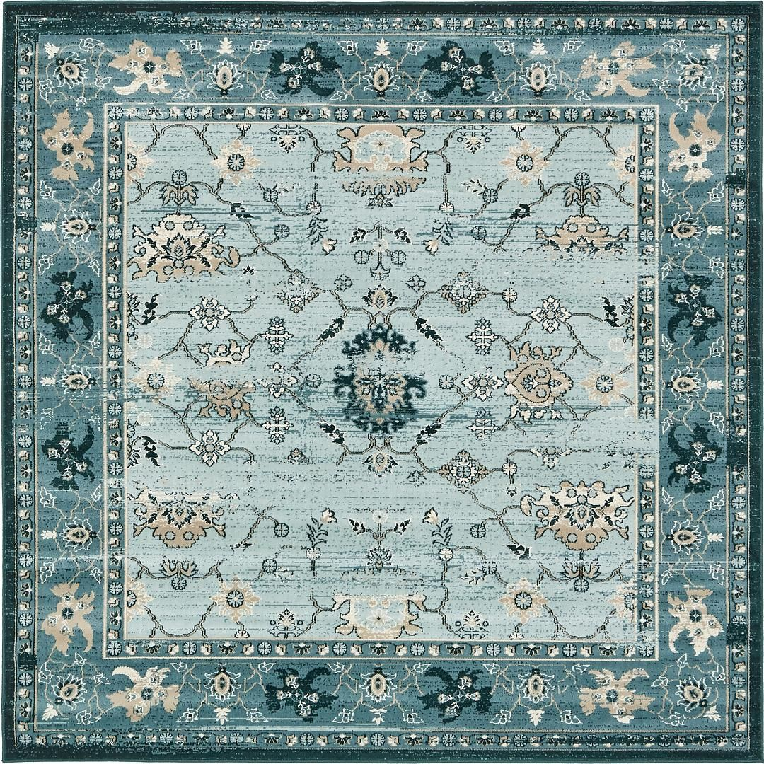 Dark blue 183cm x 183cm montreal square rug area rugs for Area carpets and rugs