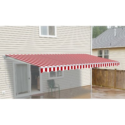 Aleko 12 Ft W X 10 Ft D Fabric Retractable Standard Patio Awning Colour Red White In 2020 Patio Carport Patio Red White