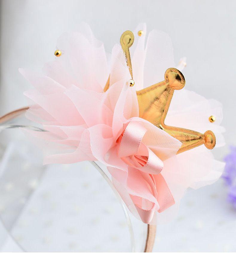 Bambini del bambino tulle flower crown hairbands diademi hoop per capelli chiusura ragazze fasce cape accessori diadema della fascia ornamenti