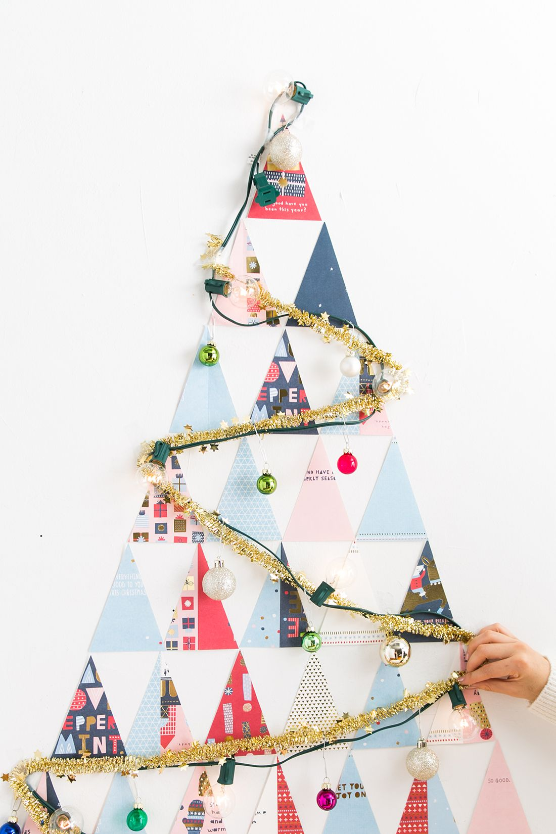 DIY a Non-Traditional Christmas Tree Out of Holiday Cards in Under ...
