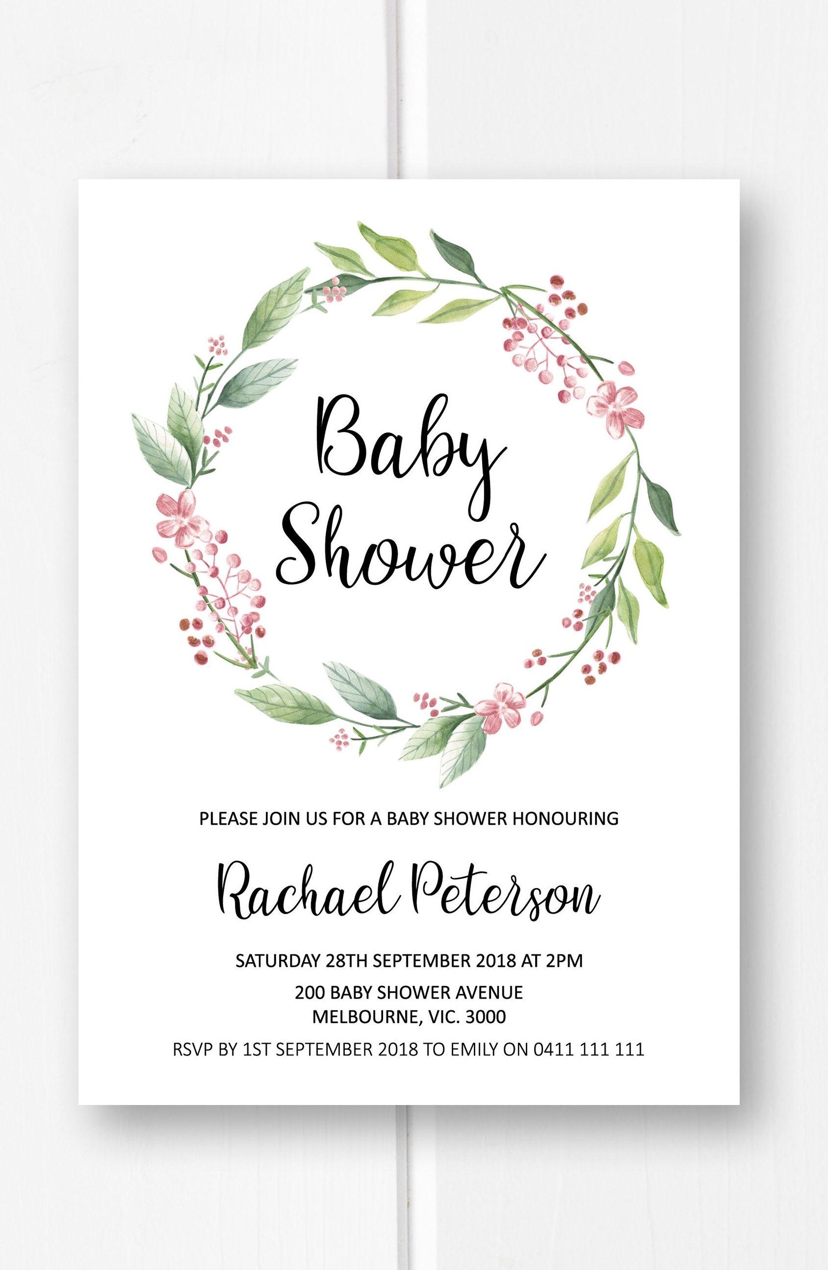 Greenery baby shower invitation girl printable baby shower invites ...