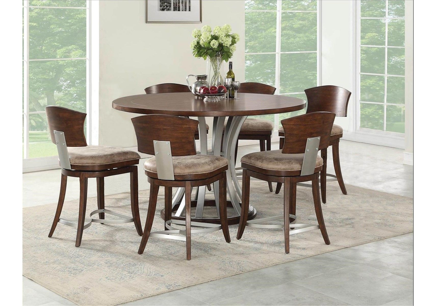 Lacks Oxford Hills 7 Pc Counter Height Dining Set Counter