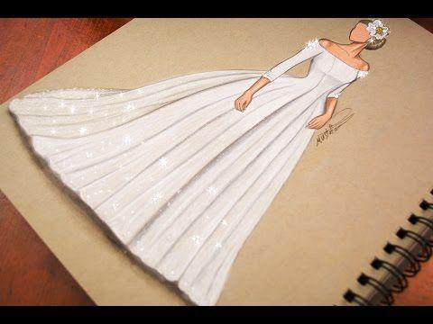 رسم وتصميم فستان زفاف تعليم رسم ازياء رسم فستان عروس Youtube Fashion Illustration Tutorial Fashion Drawing Sketches Fashion Illustration