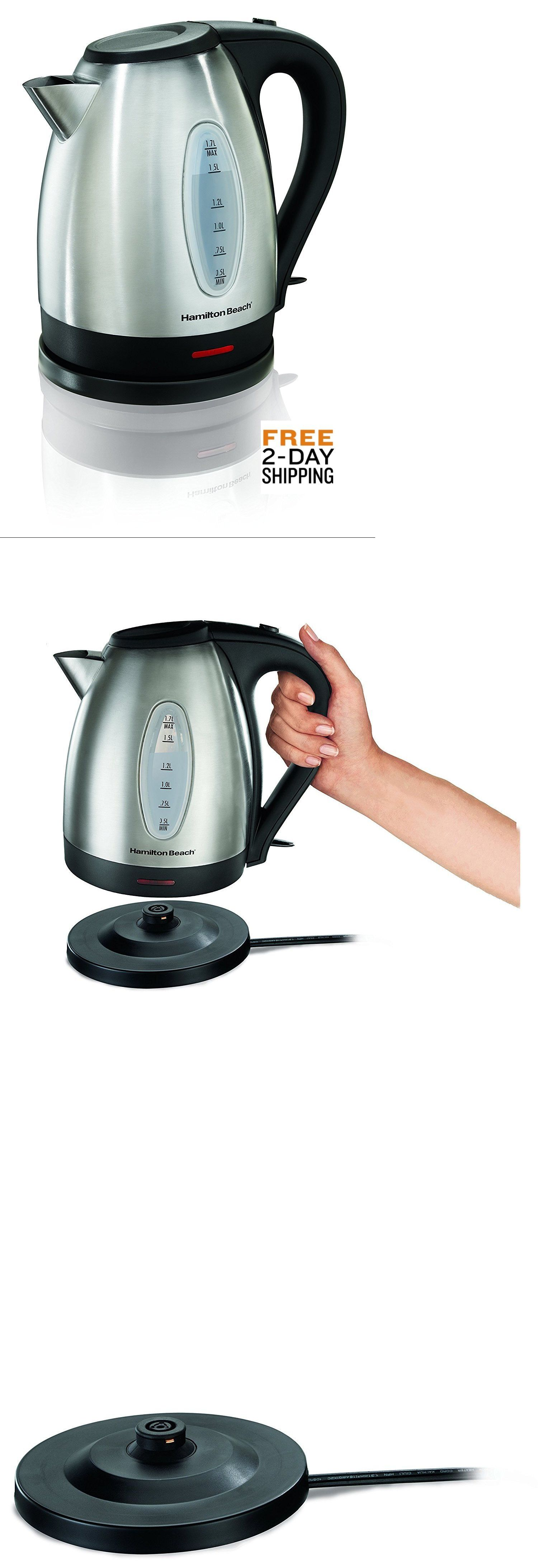 Hamilton Beach 40880 Stainless Steel Electric Kettle 1.7-Liter Silver FREE 2-DAY