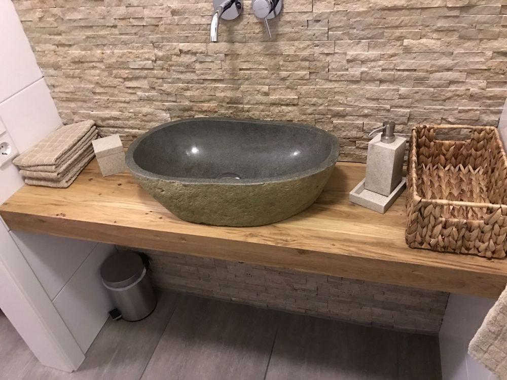 Waschtischplatte Waschtischkonsole Eiche Baumkante Flussstein