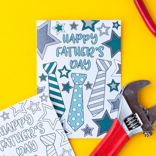 This free printable Fatheru0027s Day card is fun to color in and a great - new free coloring pages for father's day