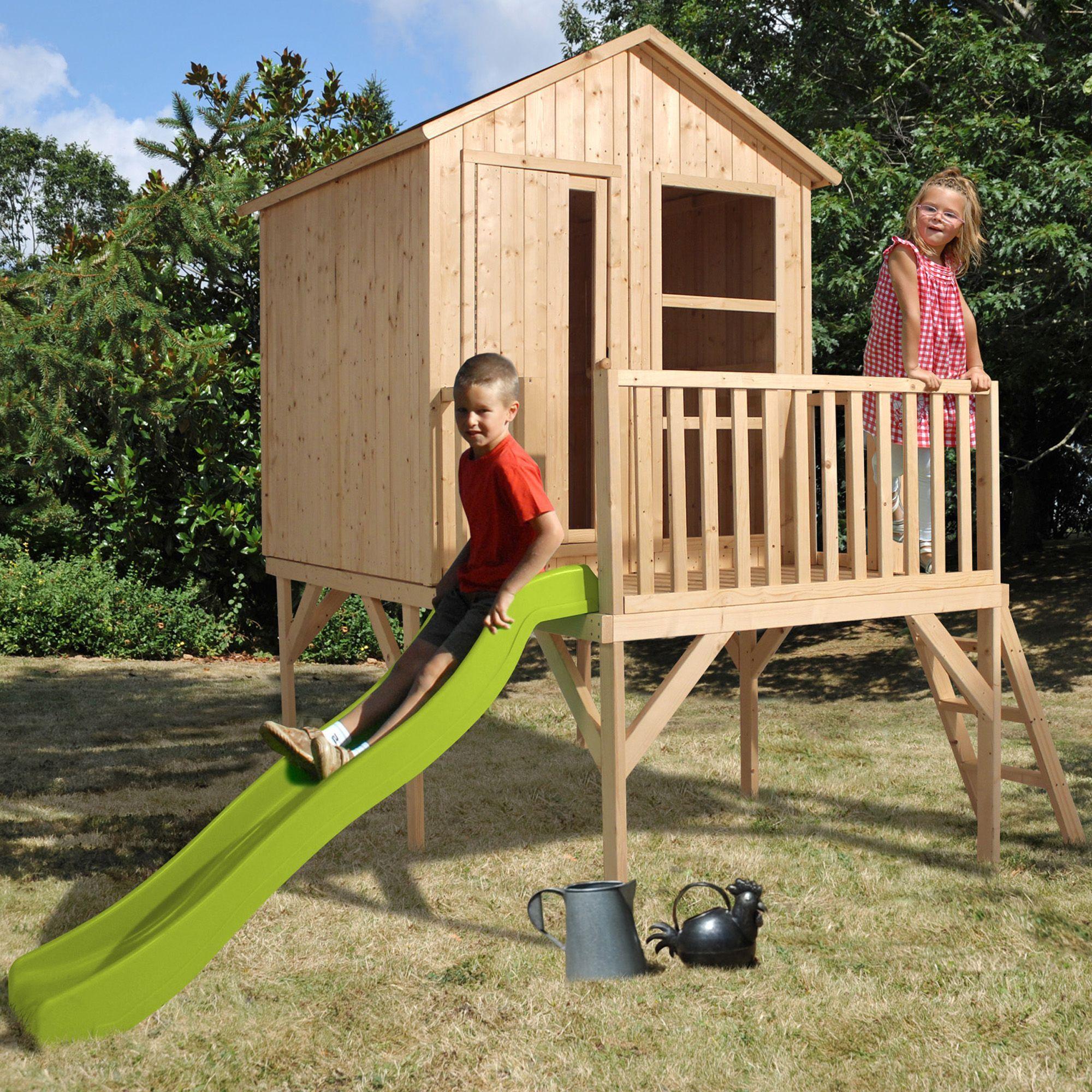 maisonnette en bois brut peindre pour enfants avec toboggan naturel rachel jouets d. Black Bedroom Furniture Sets. Home Design Ideas