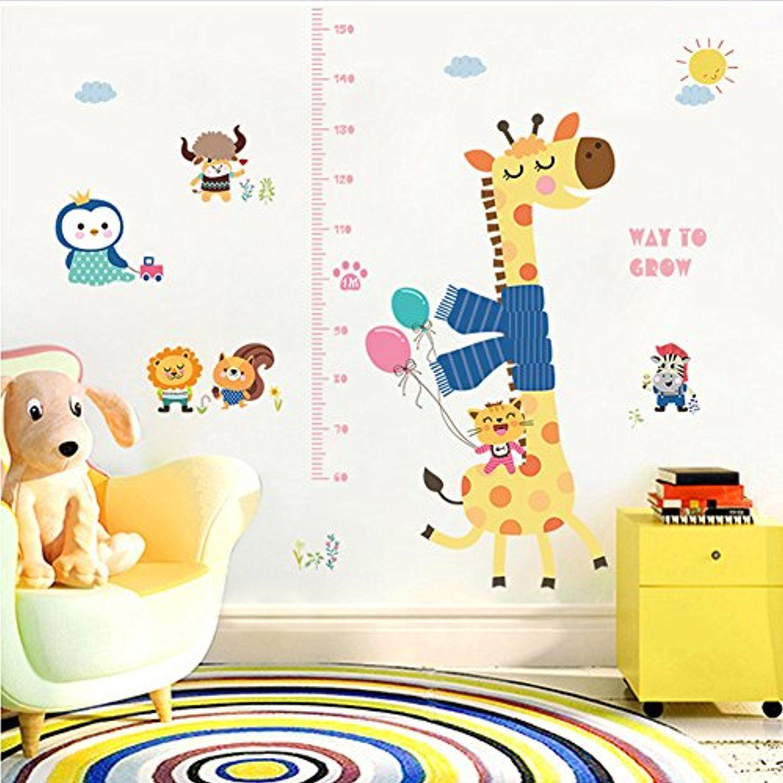 Kids height wall stickerscartoon scarf giraffe height chart wall kids height wall stickerscartoon scarf giraffe height chart wall stickers removable wall decor decal growth chart for kids bedroom nursery room dcoration geenschuldenfo Choice Image
