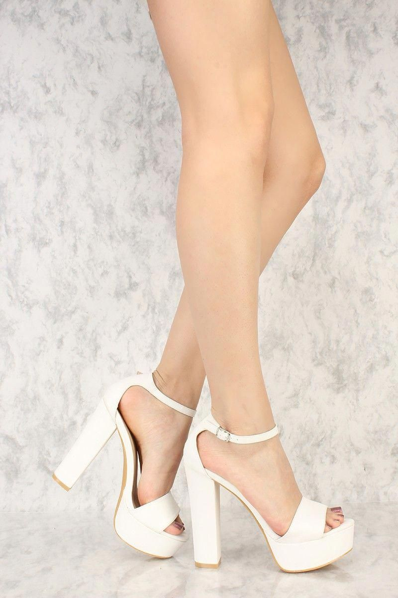 White Open Toe Platform Pump Chunky High Heels Faux Leather