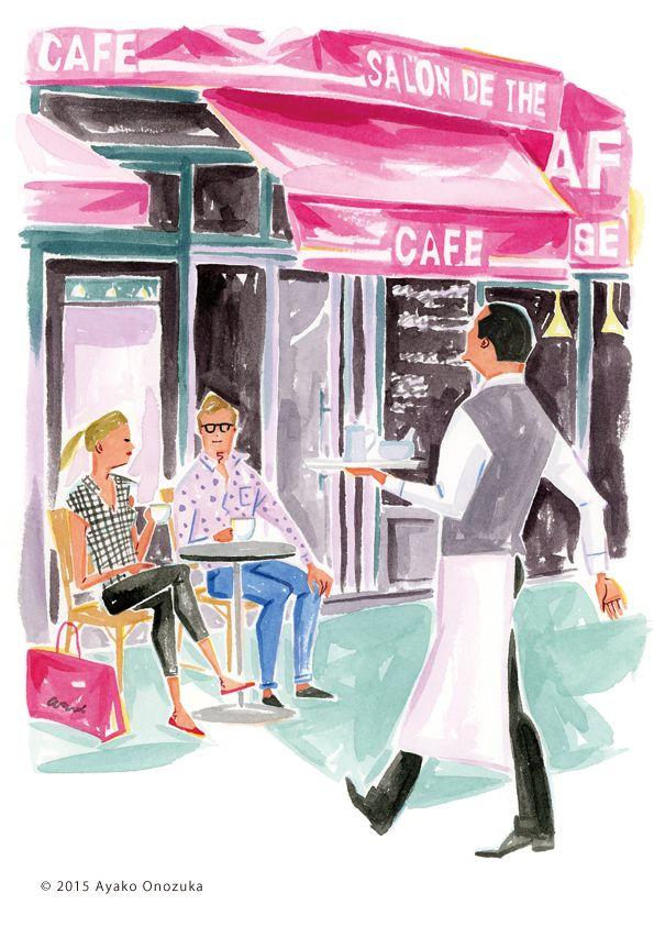 ayako onozuka #illustration #Fashion #Watercolor #Landscape #newyork #cafe #イラストレーション