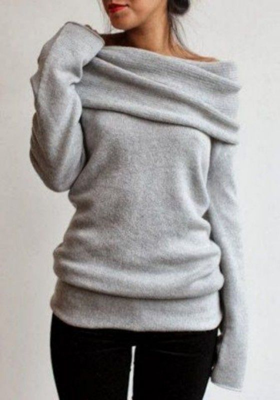 Grey Plain Turn-Down Collar Boat Neck Off-Shoulder Loose Knitwear ...