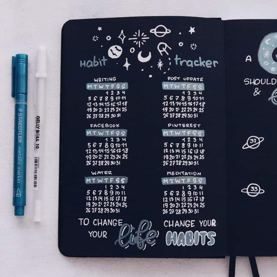 Blackout Book and JUST TWO Pens   August Plan With Me