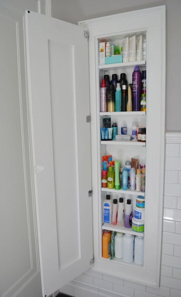 15 Stunning Built In Shelf Ideas For A Super Organized Bathroom Craftsonfire Small Bathroom Storage Cabinet Bathrooms Remodel Small Bathroom Storage