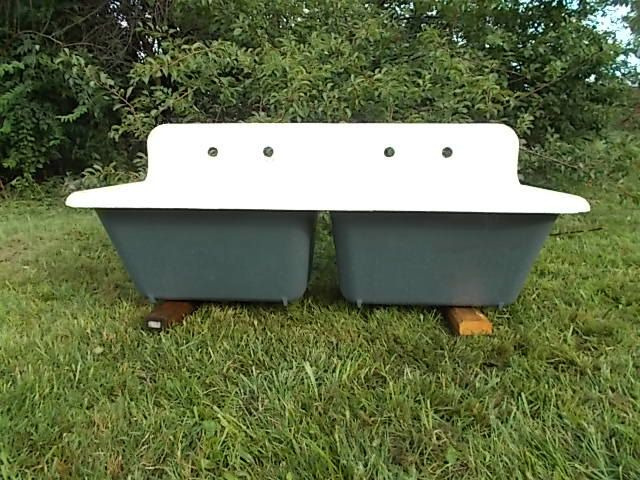 Antique Cast Iron Super Deep Double Farm Sink Highback Rolled Lip
