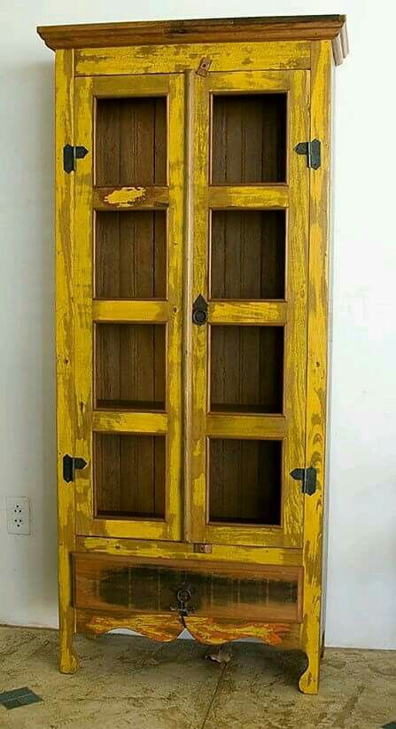 Rustic yellow cupboard. in 2019 | Furniture, Painted ...