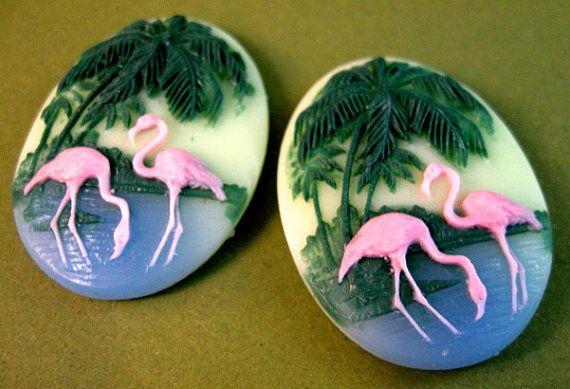 Plastic Flamingo 40x30mm Oval Cameos  by beadbarnsupplies on Etsy, $2.00
