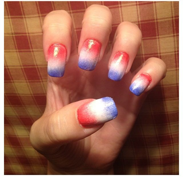 Red White And Blue Ombre Nail Art America Blue Glitter Nails Blue Ombre Nails Usa Nails