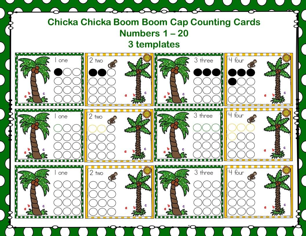 I Have Added A Chicka Chicka Boom Boom Cap Counting Cards