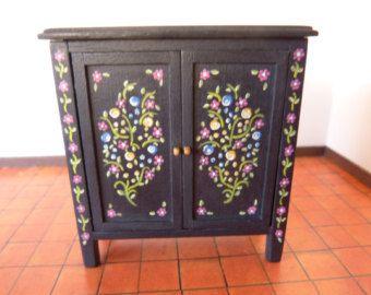 1:12 scale dollhouse miniature black cupboard -  hand painted furniture