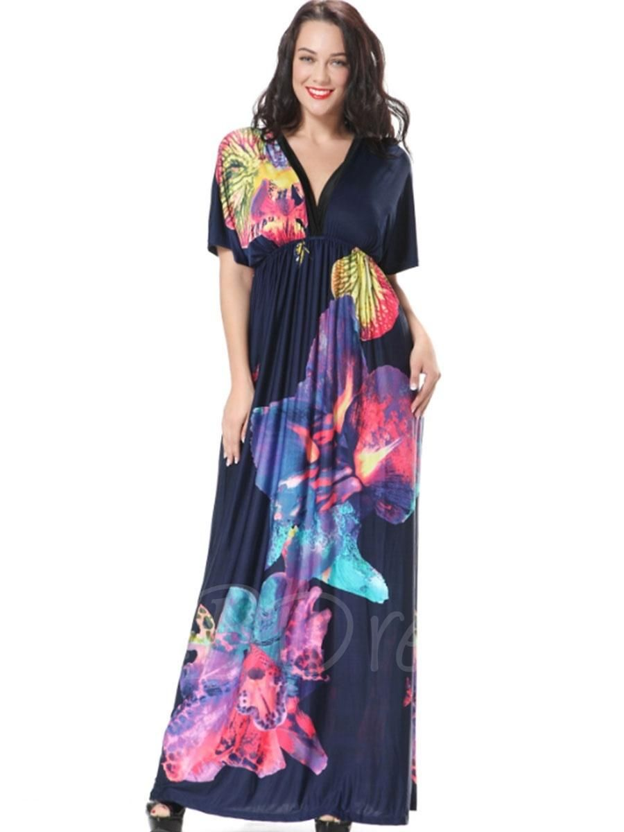 Tbdress tbdress v neck ruffle printed womens maxi dress adorewe