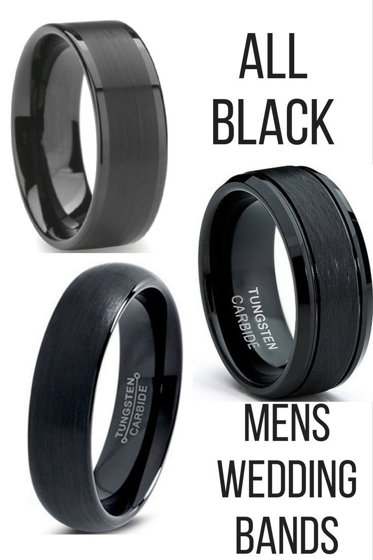 mens all black wedding bands crafted out of tungsten carbide i love so many of - All Black Wedding Rings