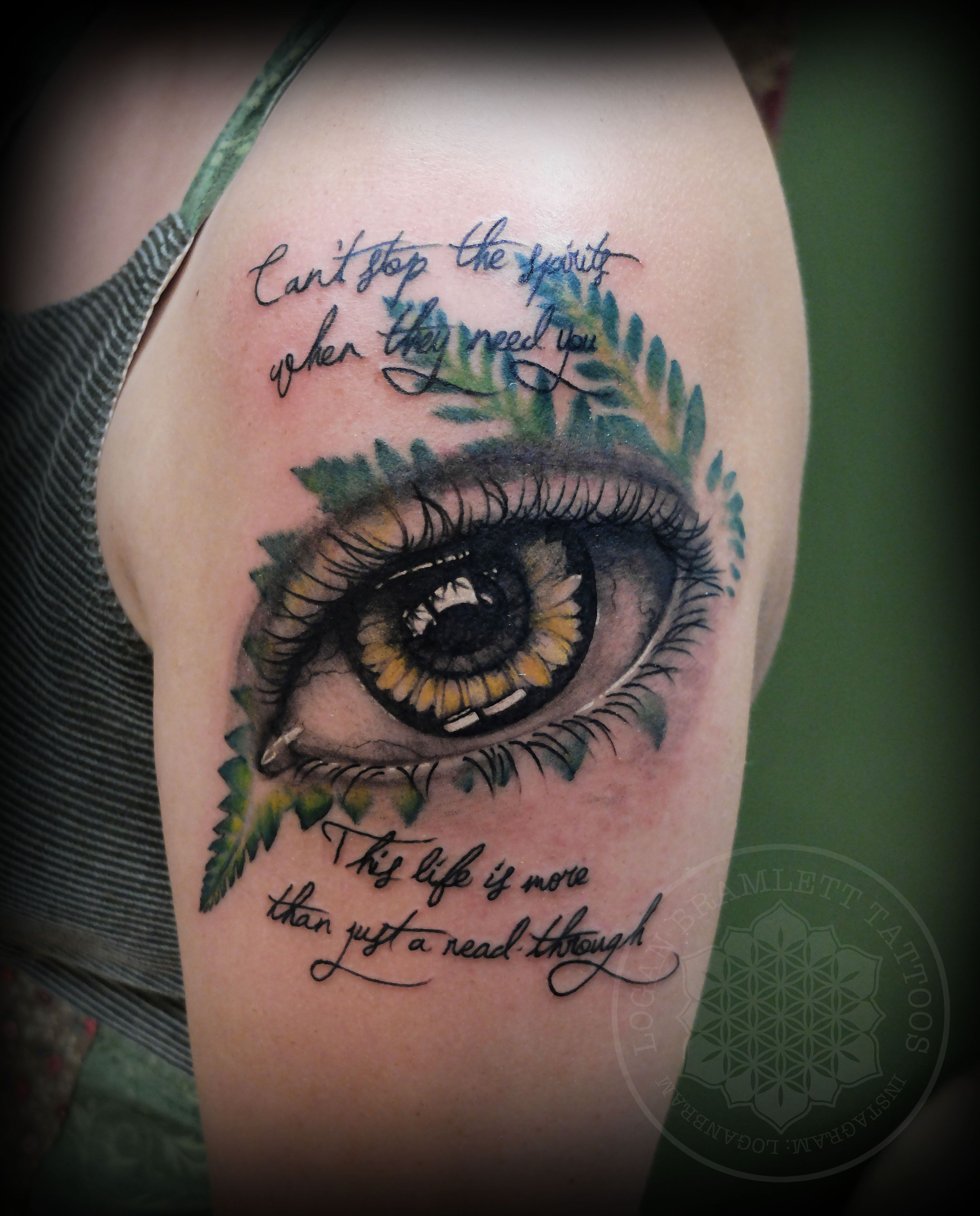 Fern and sunflower eye tattoo by logan bramlett follow me