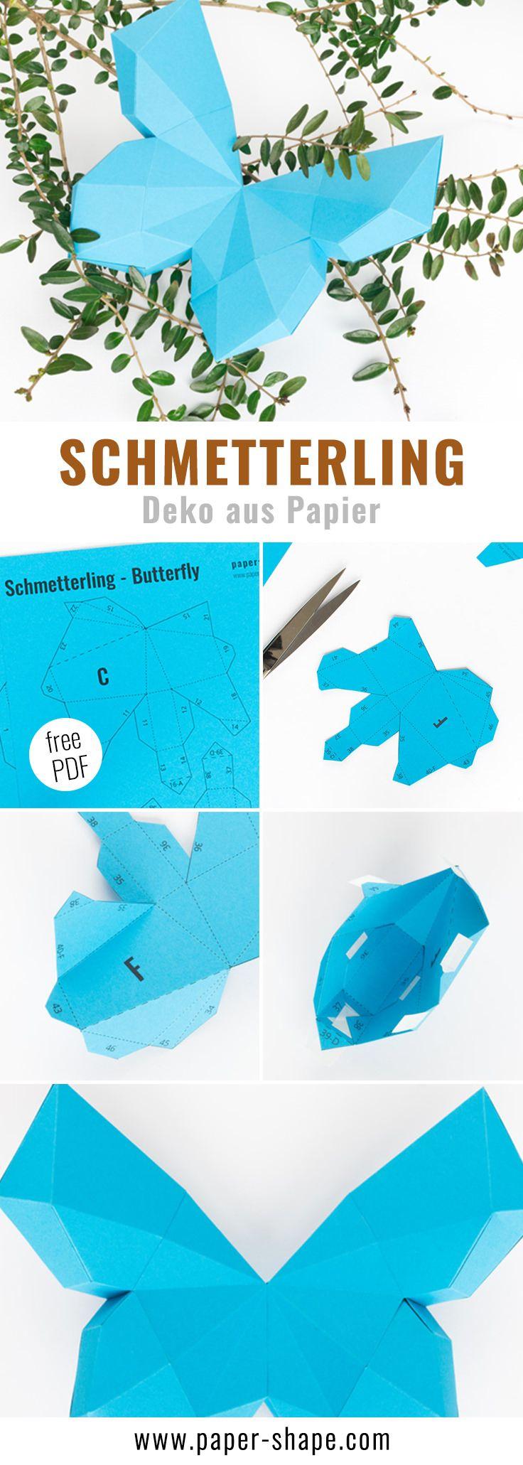 3D Schmetterling basteln als Wanddeko (mit Vorlage)