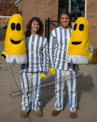 Bananas in Pajamas DIY Couple Halloween Costume The background of this Bananas in Pajamas DIY couple Halloween costume idea is actually a funny story.  sc 1 st  Pinterest & Coolest Bananas in Pajamas DIY Couple Halloween Costume | Pinterest ...
