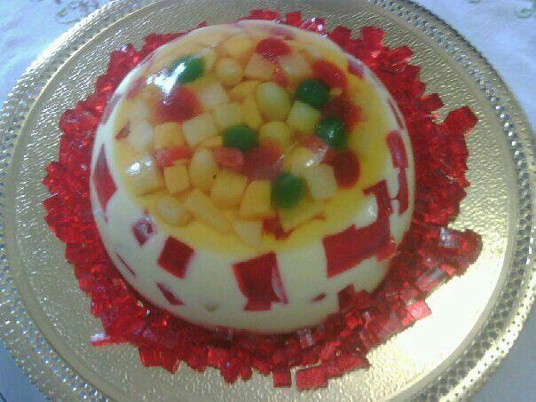 Gelatina 3D de leche condensada con frutas