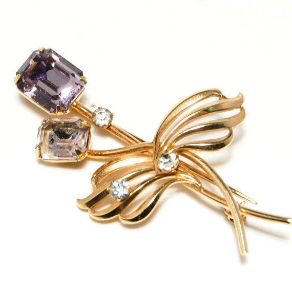 Purple Rhinestone Brooch, Van Dell, 12kt, Gold Filled, Designer Vintage Jewelry