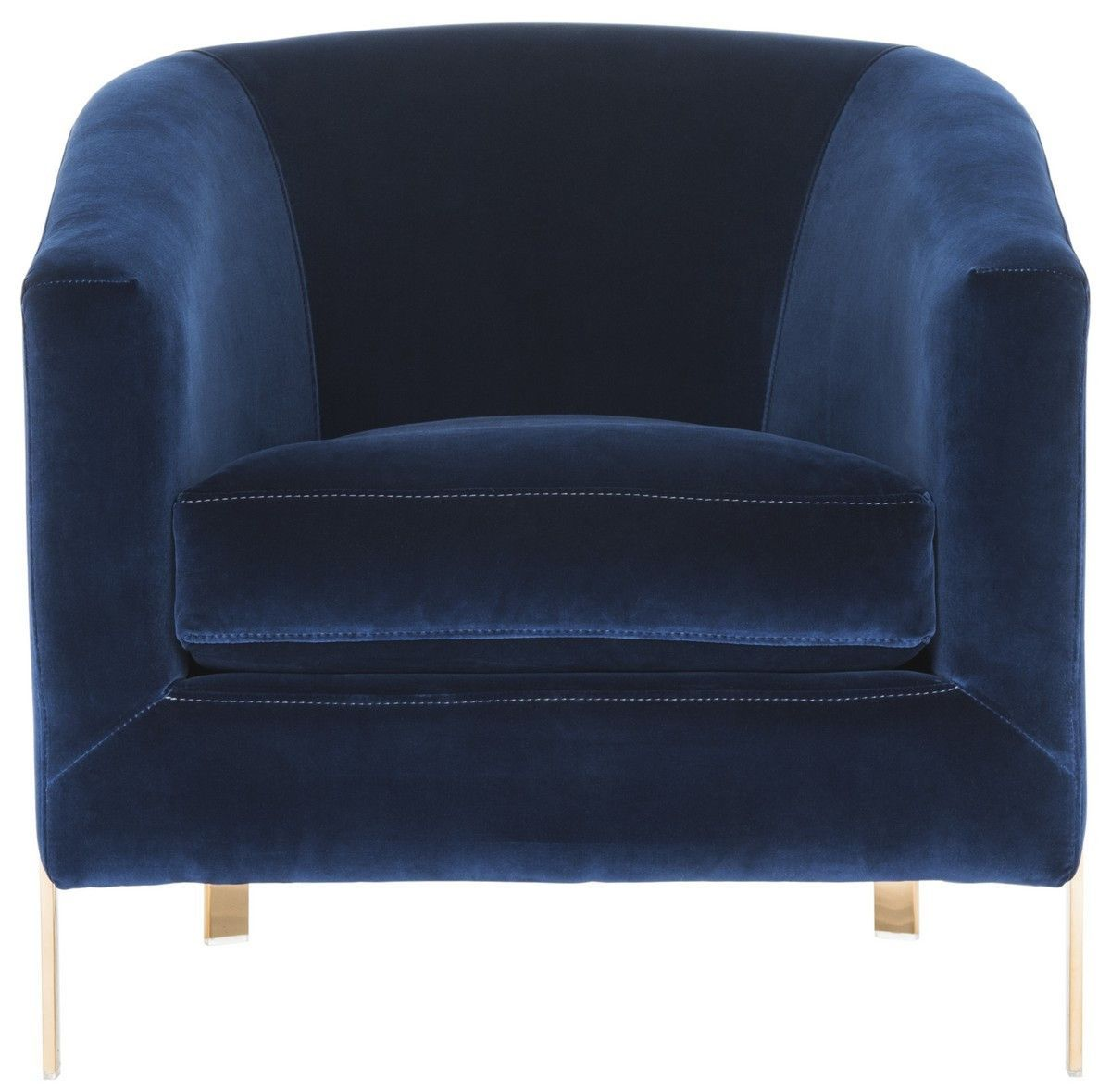 Attractive Vernon Velvet Club Chair In Giotto Navy Design By Safavieh