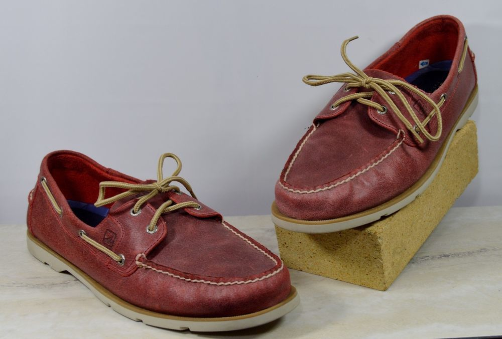 Sperry Top Sider Red Distressed Leather