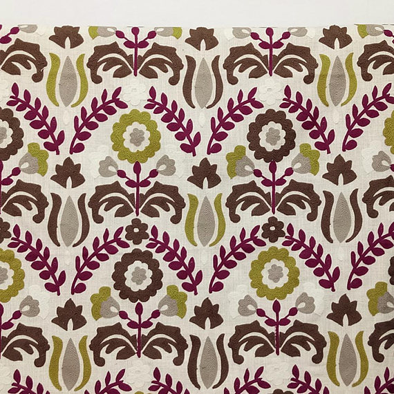 Chartreuse And Magenta Flowers Curtain Fabric By The Yard