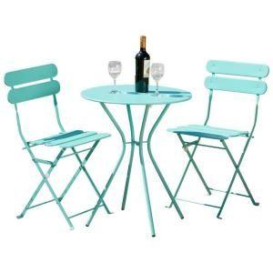 Rst Brands Sol Blue 3 Piece Patio Bistro Set Op Bs3 Bl The Home Depot