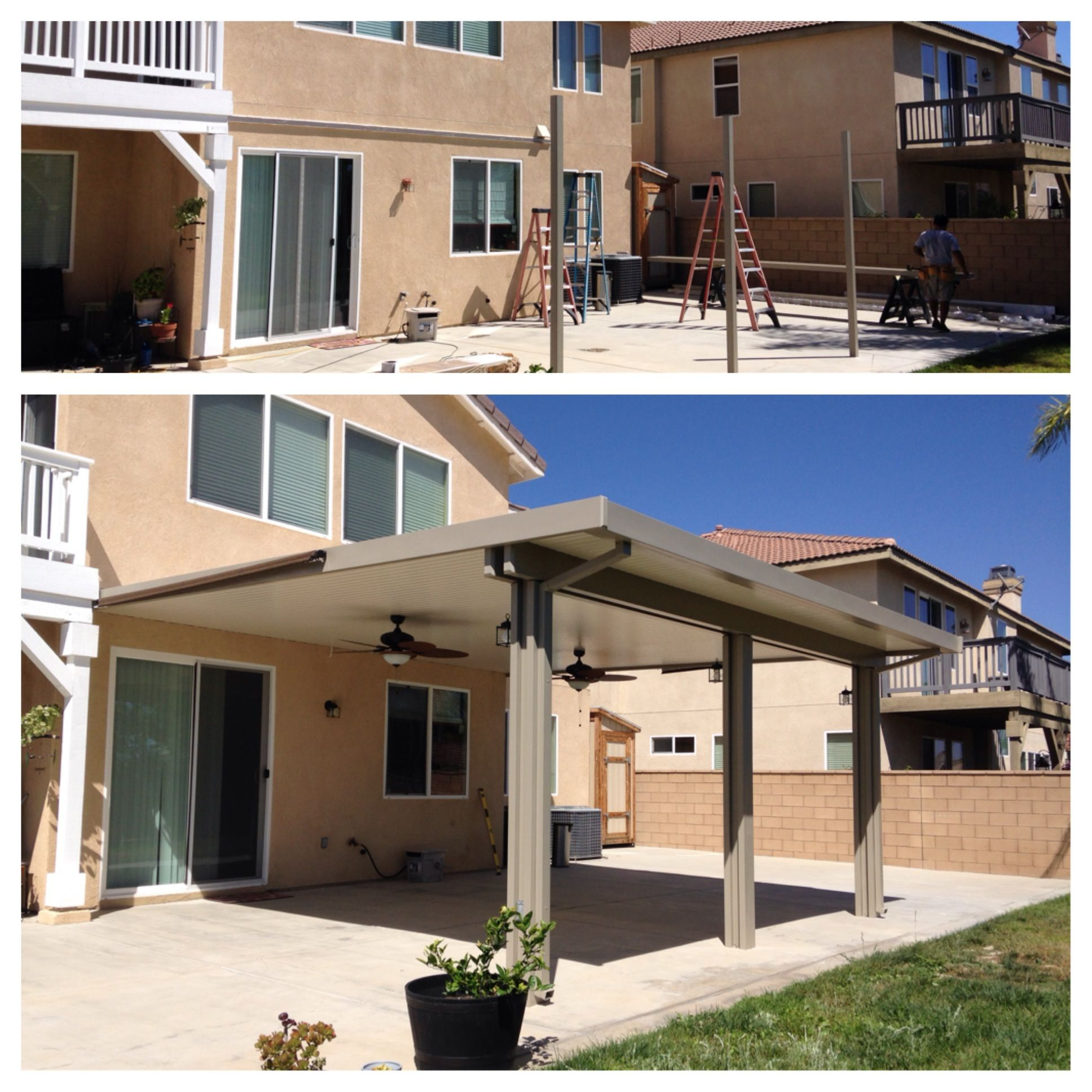 before and after construction of an aluminum patio cover