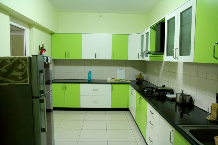 Attractive Green Kitchen Cabinet Ideas Part - 13: Kitchen : Awesome Green Kitchen Cabinet White Texture Backsplash Tiles  Refrigerator Black Countertop Leicht Cupboard Successful