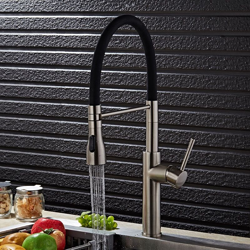 Contemporary Single Hole 1 Handle Kitchen Faucet Pull Out Spout In