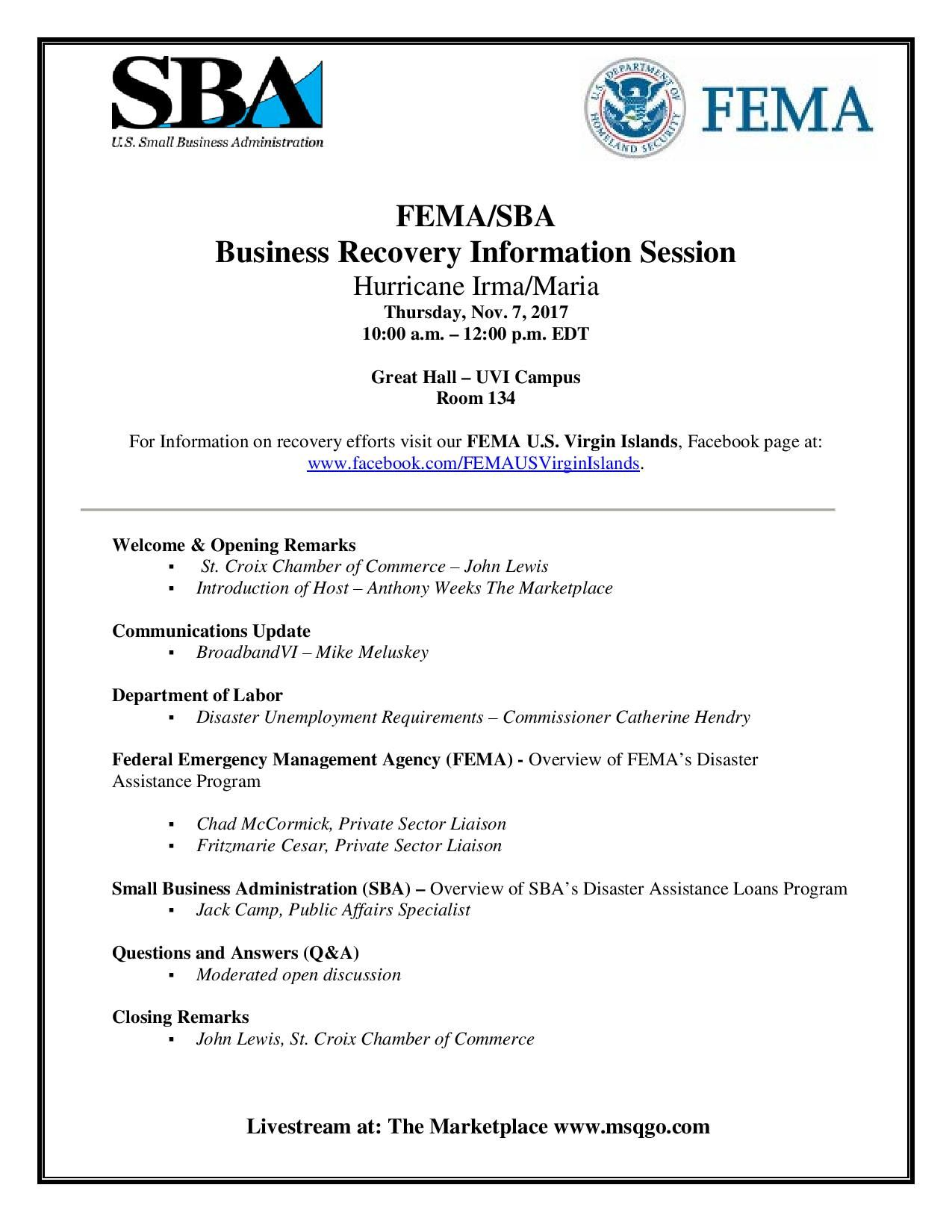 Please Join The St Croix Chamber Of Commerce To Hear From Fema
