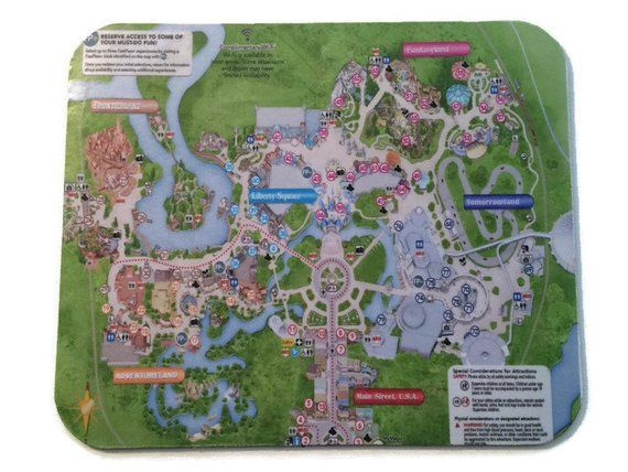 Disney Mousepad Magic Kingdom Park Map in 2019 | Products ...