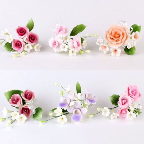 Caljava gum paste flower spray small 6 pc set ebay wedding baking accessories and cake decorating ebay junglespirit Images